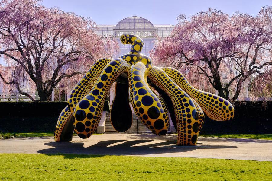 Tác phẩmQuả bí nhảy múa của Yayoi Kusama hiện đang được trưng bày tại vườn bách thảo ở New York.