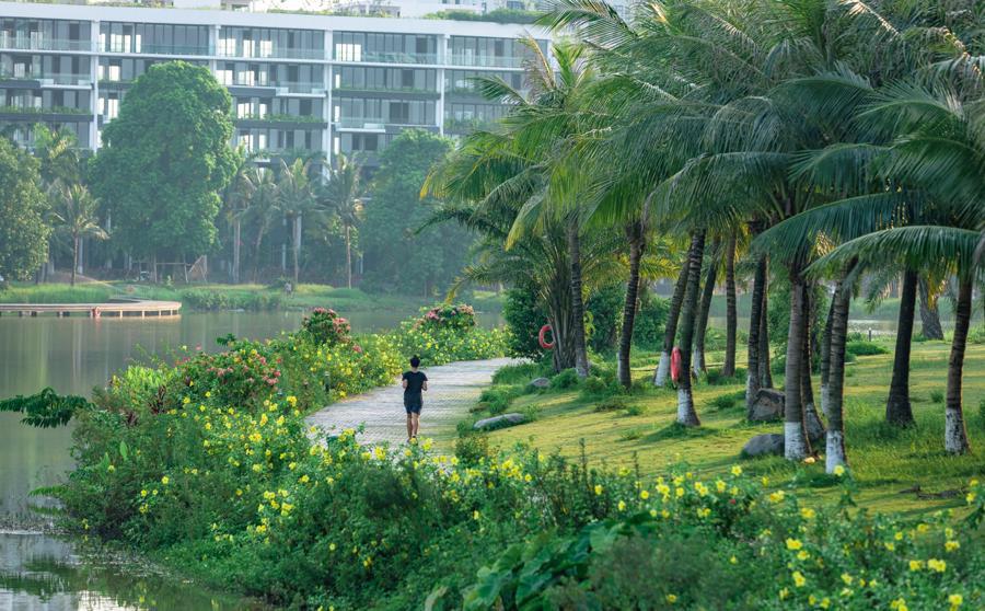 Từ ngày về Ecopark, Mây không còn ngủ nướng, thích chạy ven hồ mỗi sáng.