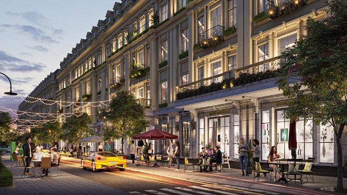 Chuỗi shophouse tạo nên những con phố mua sắm náo nhiệt ngay bên trong dự án.