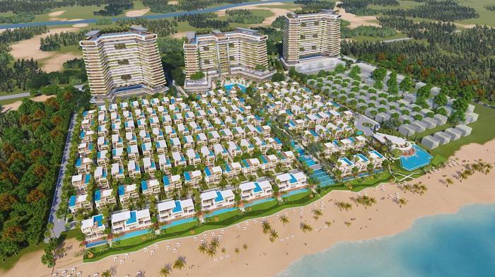Phối cảnh 1 tổ hợp biệt thự và khách sạn 5 sao nằm trên cung đường biển tỷ đô, hứa hẹn sẽ trở thành biểu tượng du lịch của Đà Nẵng.