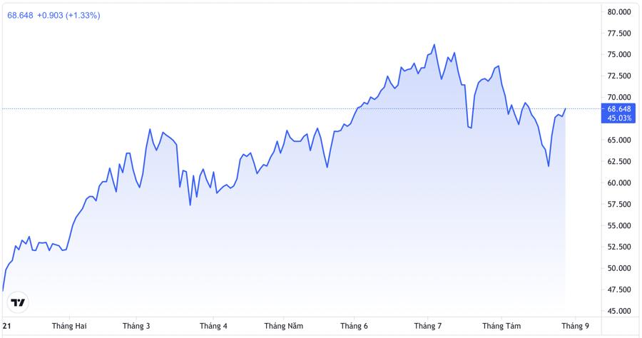 Diễn biến giá dầu WTI từ đầu năm đến nay. Đơn vị: USD/thùng - Nguồn: Trading View.