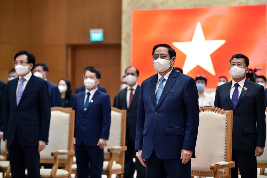 Thủ tướng Phạm Minh Chính và các đại biểu dự lễ kỷ niệm. Ảnh: VGP/Nhật Bắc.