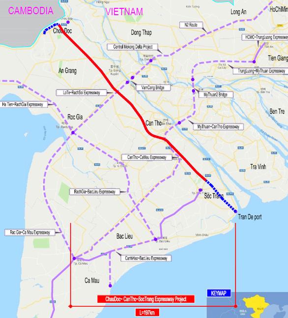 Sơ đồ tuyến cao tốc Châu Đốc - Cần Thơ - Sóc Trăng.