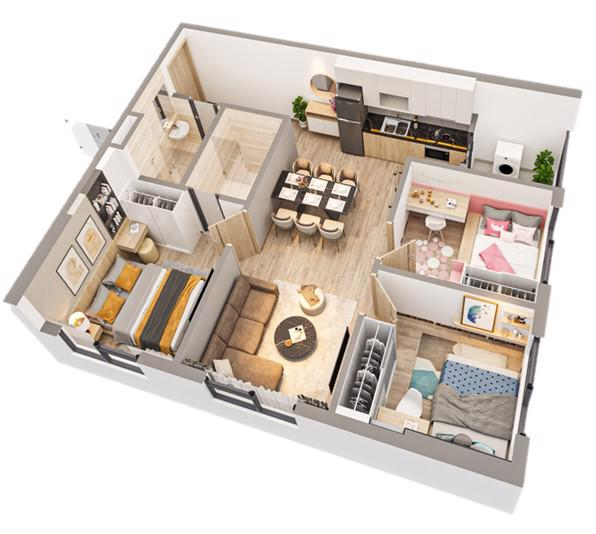 Thiết kế layout thông minh, diện tích căn hộ vừa phải nhưng vẫn đảm bảo tất cả công năng và thông thoáng ở tất cả các phòng theo tiêu chí Nhật Bản.