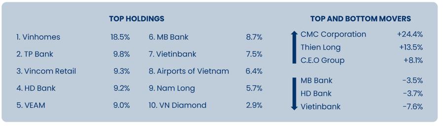 Top 10 cổ phiếu tỷ trọng lớn nhất trong danh mục của Pyn Elite Fund.