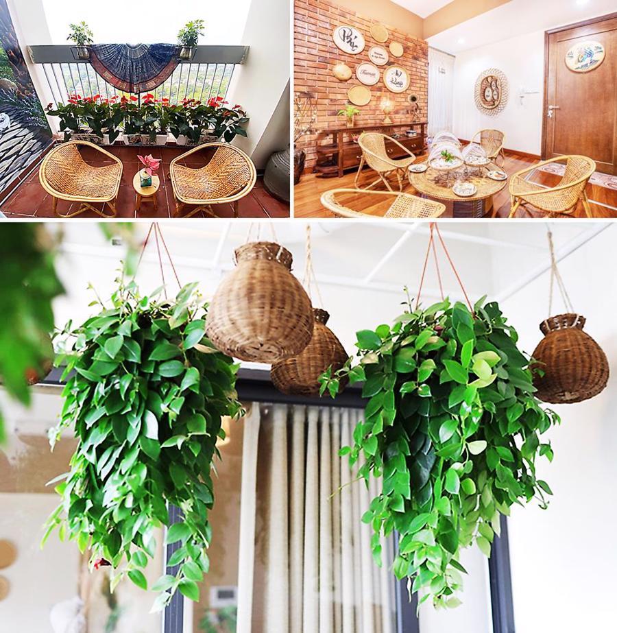Mọi không gian trong nhà chị đều gắn liền với đồ thủ công, cây xanh trang trí, tạo cảm giác thư thả và an yên.