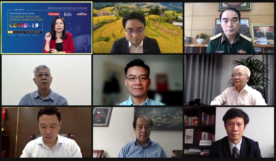 """T.ọa đàm """"Hiến kế giải pháp giúp doanh nghiệp chủ động thích ứng và sống chung an toàn với Covid-19"""" do Tạp chí Kinh tế Việt Nam/VnEconomy tổ chức ngày 9/9."""