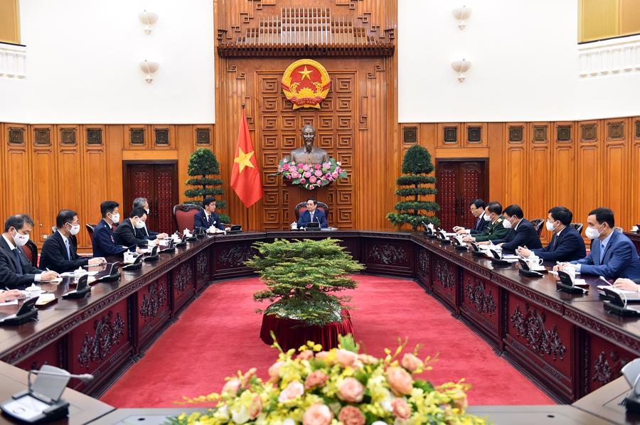 Toàn cảnh buổi tiếp của Thủ tướng Phạm Minh Chính với Bộ trưởng Quốc phòng Nhật Bản - Ảnh: VGP