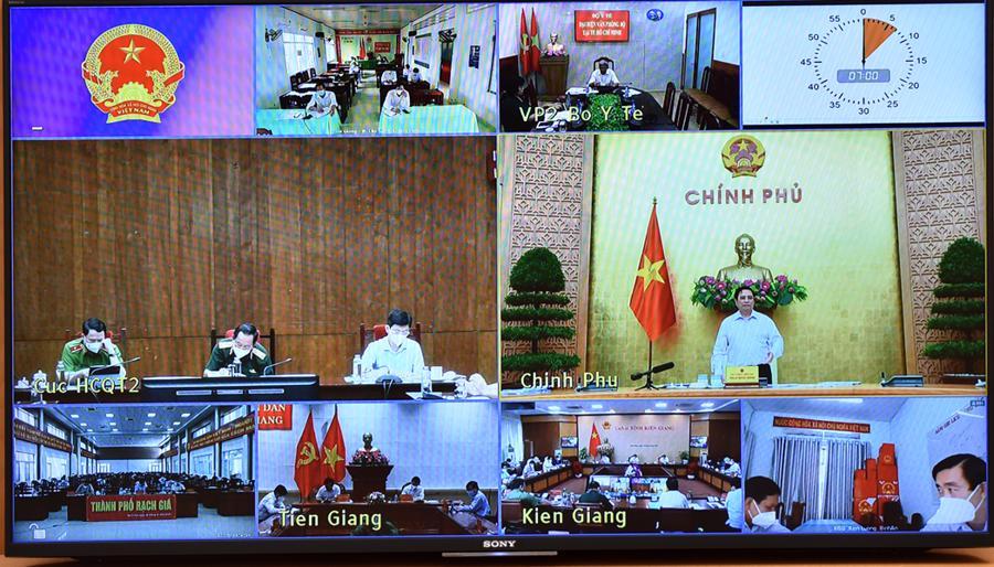 Thủ tướng yêu cầu Kiên Giang và Tiền Giang chấn chỉnhcông tác phòng chống dịch. Ảnh: VGP.
