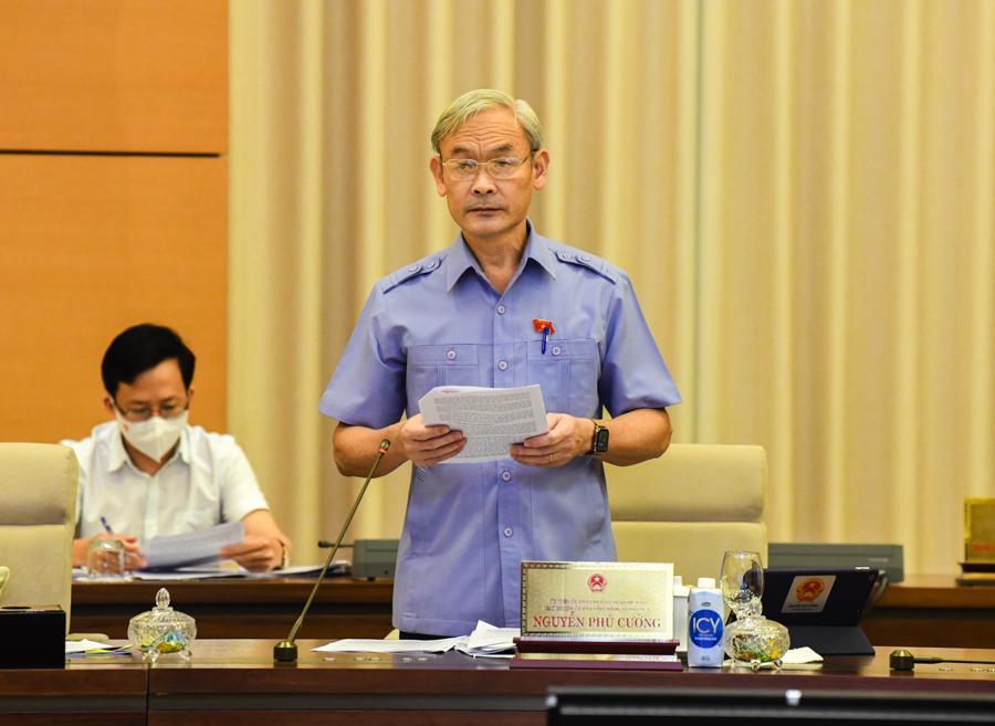 Chủ nhiệm Ủy ban Tài chính, Ngân sách Nguyễn Phú Cường trình bày báo cáo thẩm tra sơ bộ - Ảnh: Quochoi.vn