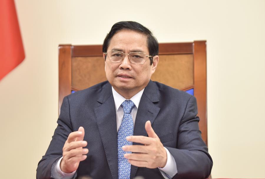 Thủ tướng Phạm Minh Chinh tại cuộc điện đàm - Ảnh: Bộ Ngoại giao