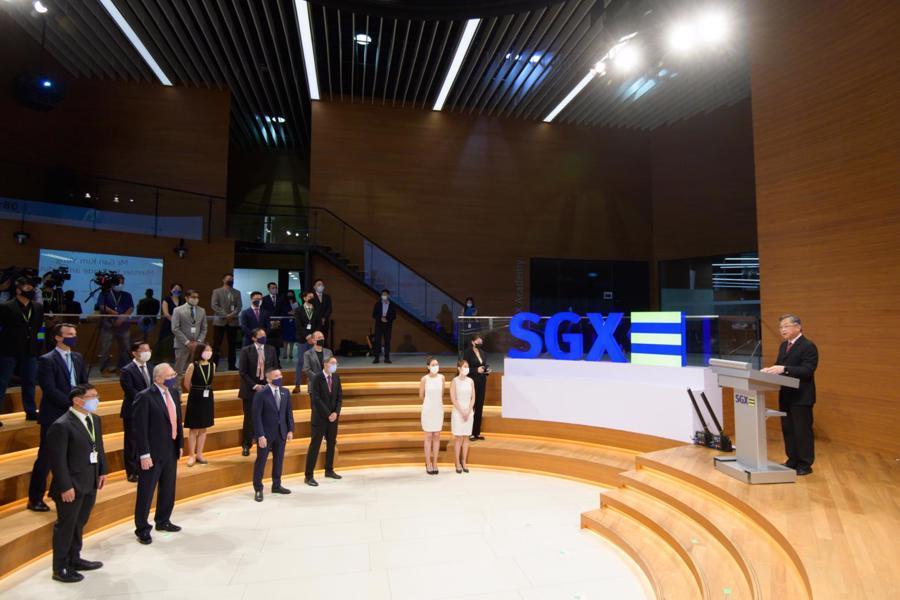 Bộ trưởng Thương mại và Công nghiệp Singapore Gan Kim Yong (phải) phát biểu tại sự kiện của SGX vào ngày 17/9 - Ảnh: BộThương mại và Công nghiệp Singapore
