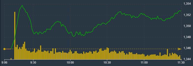 VN-Index vẫn đang được blue-chips nâng đỡ ổn định sáng nay.