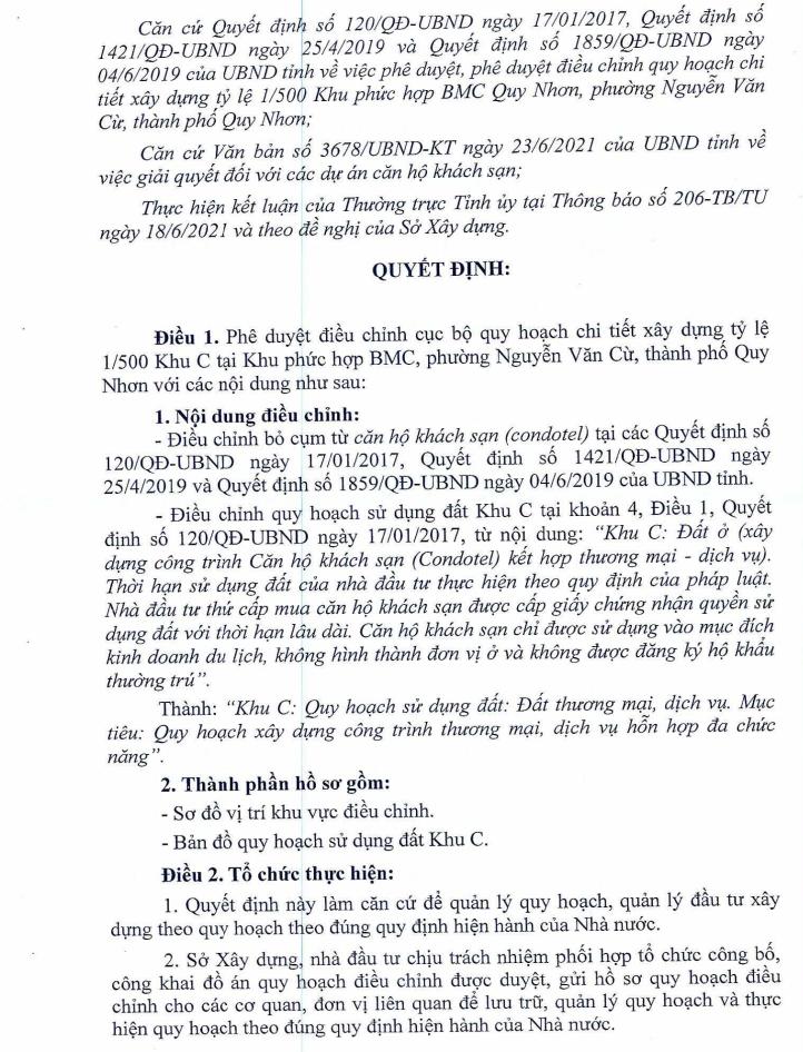 Một trong những nội dung của Quyết định điều chỉnh cục bộ quy hoạch chi tiết Khu phức hợp BMCBMC, phường Nguyễn Văn Cừ, TP. Quy Nhơn, tỉnh Bình Định - Nguồn: UBND tỉnh Bình Định.