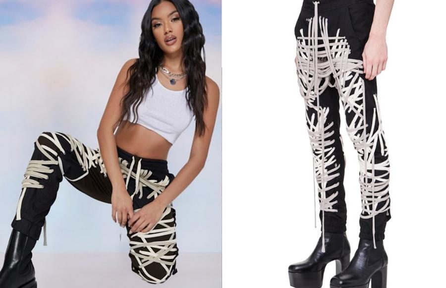 Hình ảnh quảng cáo sản phẩm của Shein (trái) và ,sản phẩm quần dây chéo của Rick Owens (phải).