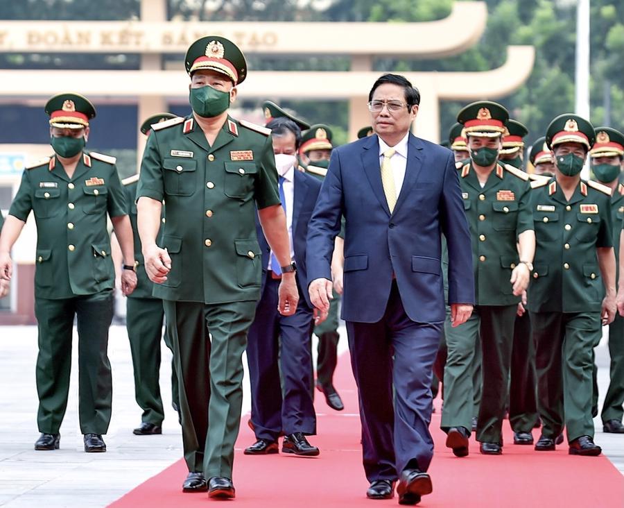 Thủ tướng Chính phủ Phạm Minh Chính dự lễ khai giảng năm học 2021-2022 của Học viện Quốc phòng. -Ảnh: VGP
