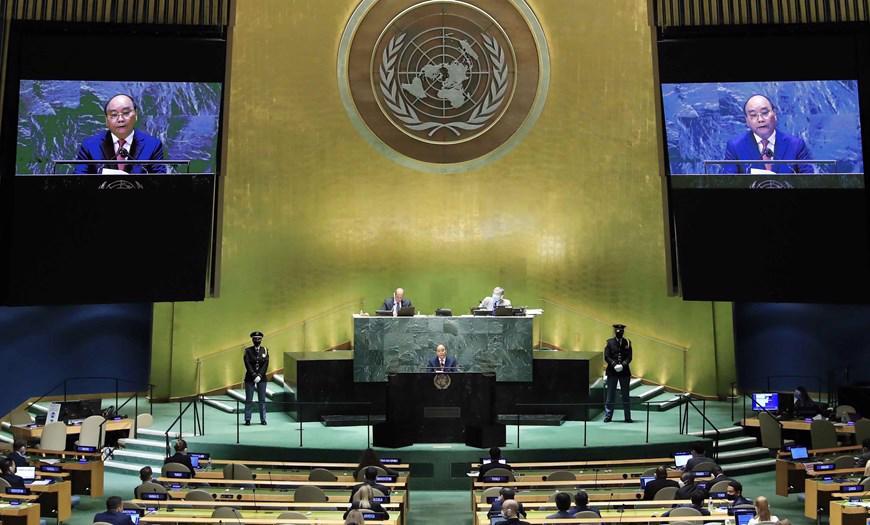 Bài phát biểu của Chủ tịch nước Nguyễn Xuân Phúc được bạn bè quốc tế đánh giá cao - Ảnh: TTXVN