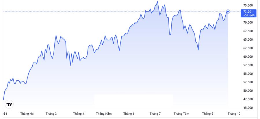 Diễn biến giá dầu WTI giao sau tại New York từ đầu năm đến nay. Đơn vị: USD/thùng - Nguồn: Trading View.
