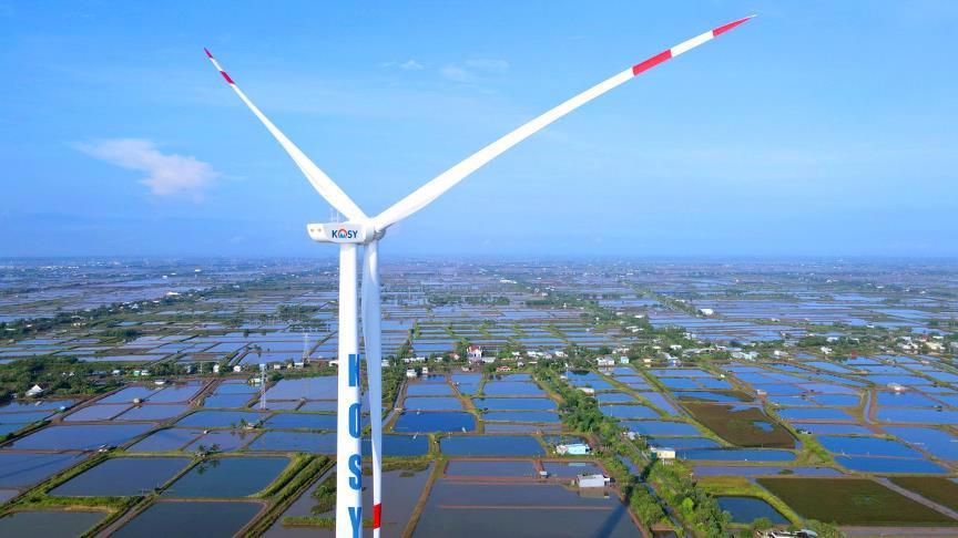 Turbine của nhà máy Điện gió Kosy Bạc Liêu.