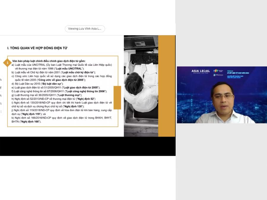 Ông Lưu Xuân Vĩnh, Luật sư Điều hành, Công ty Luật TNHH Asia Legal chia sẻ tại webinar Ký kết vượt giãn cách.