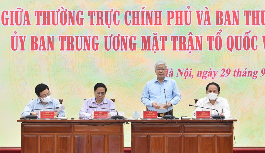 Chủ tịch Ủy ban Trung ương Mặt trận Tổ quốc Việt Nam Đỗ Văn Chiến phát biểu tại hội nghị - Ảnh: VGP