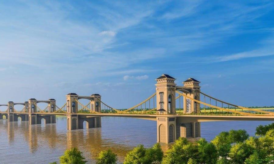 Cầu Trần Hưng Đạo vượt sông Hồng với 5 nhịp cầu.
