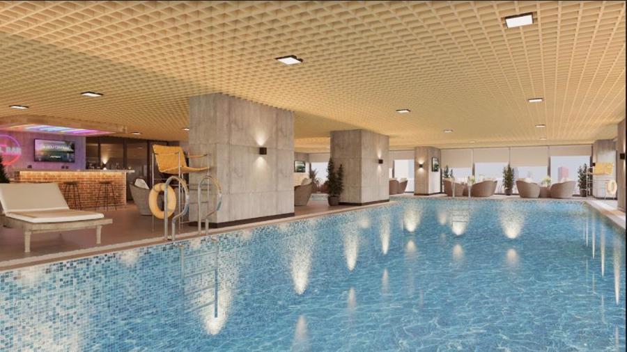 Không gian 2.400 m2 tại Golf One Studio kết hợp nhiều loại hình tập luyện và giải trí khác nhau như bể bơi, Jacuzzi, fitness, nhà hàng.