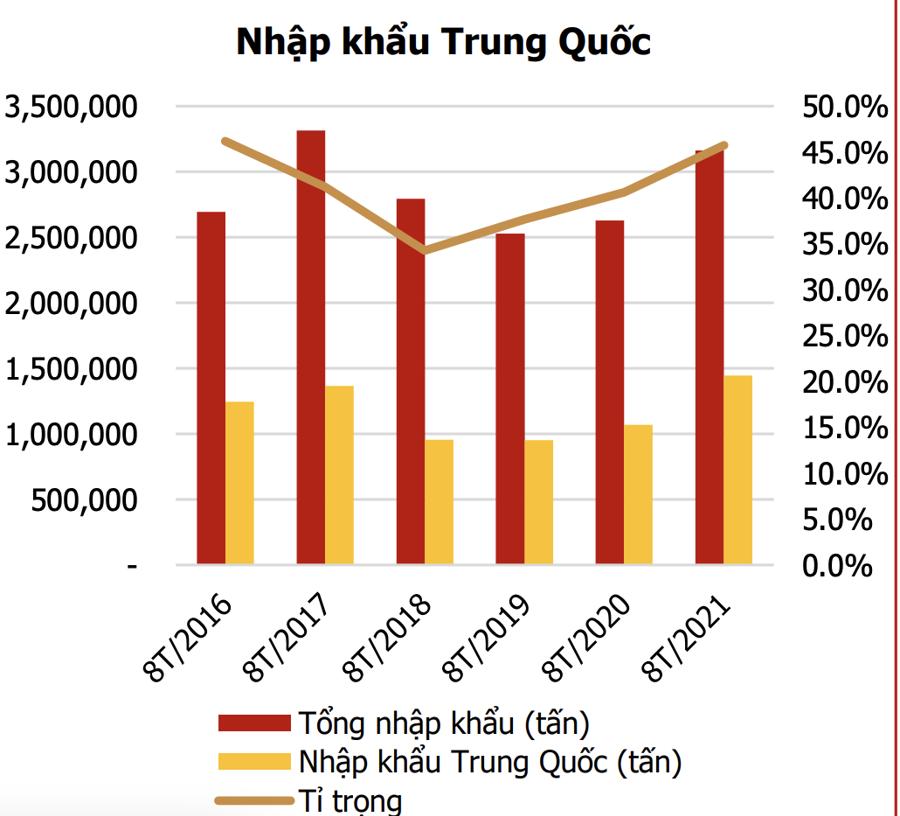 Tình hình nhập khẩu phân Trung Quốc của Việt Nam.