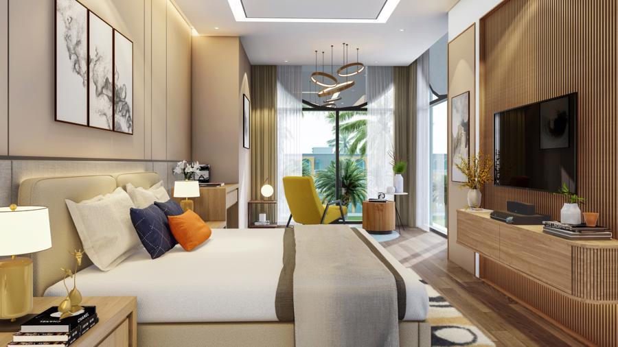 Phòng ngủ master rộng rãi trên tầng 2 với giường kích thước lớn (King size).