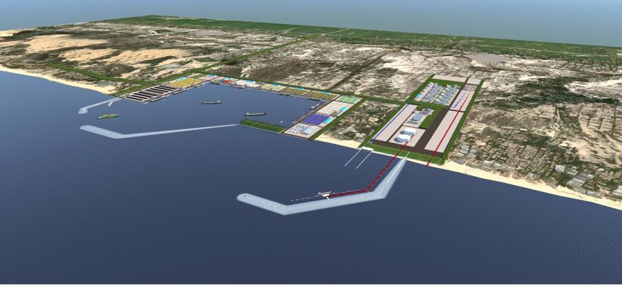 Phối cảnh dự án Trung tâm điện khí LNG Hải Lăng, tỉnh Quảng Trị.