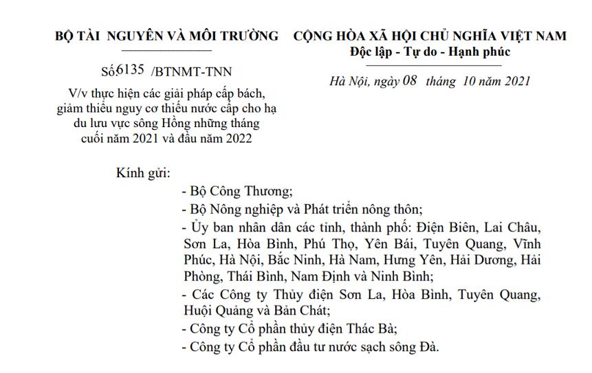 Trích văn bản của Bộ Tài nguyên Môi trường.