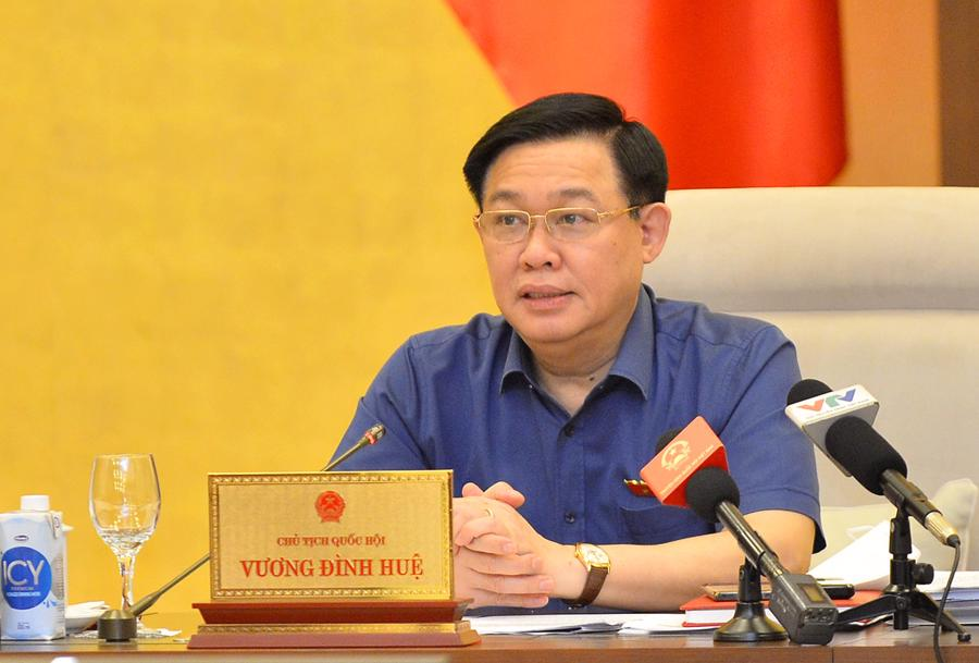 Chủ tịch Quốc hội Vương ĐìnhHuệ phát biểu tại phiên họp - Ảnh: Quochoi.vn