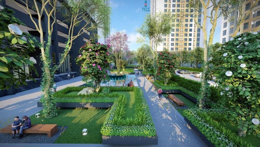 Dự án Rose Town tích hợp hệ thống tiện ích đa dạng, hiện đại và không gian xanh mát, đáp ứng tối đa nhu cầu của cư dân.