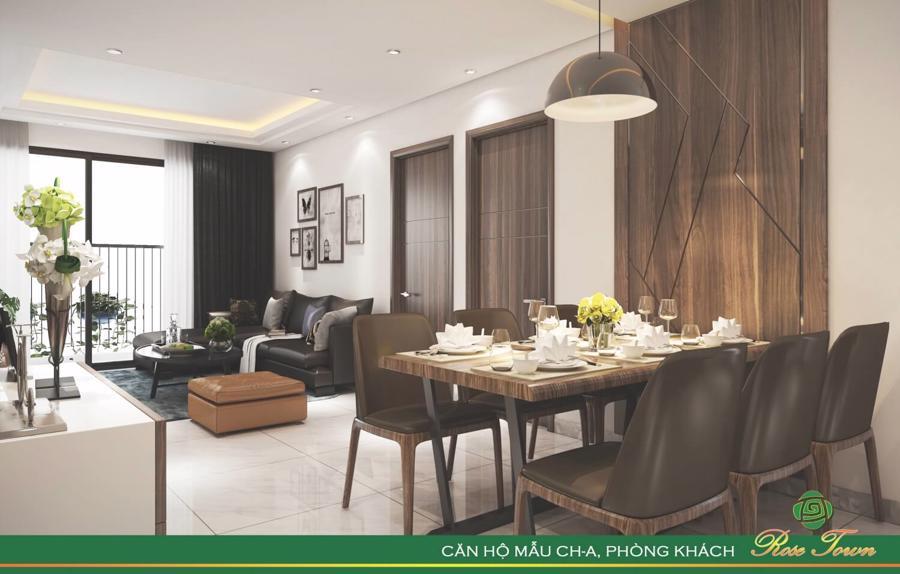 Các căn hộ tại Rose Town có thiết kế thông minh, khoa học, tối ưu hoá công năng và diện tích sử dụng, đặc biệt luôn ngập tràn ánh sáng tự nhiên.