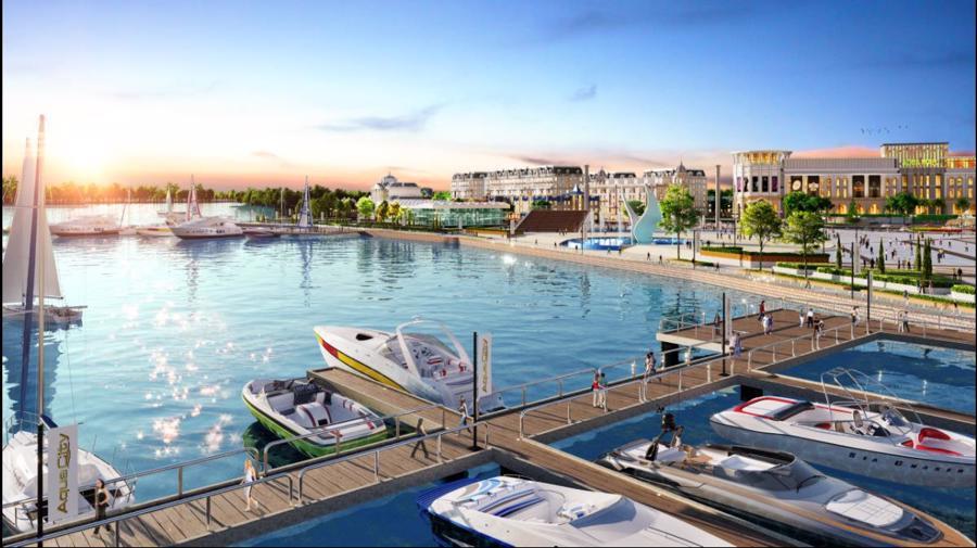 Phối cảnh tổ hợp quảng trường - bến du thuyền Aqua Marina tại Aqua City.